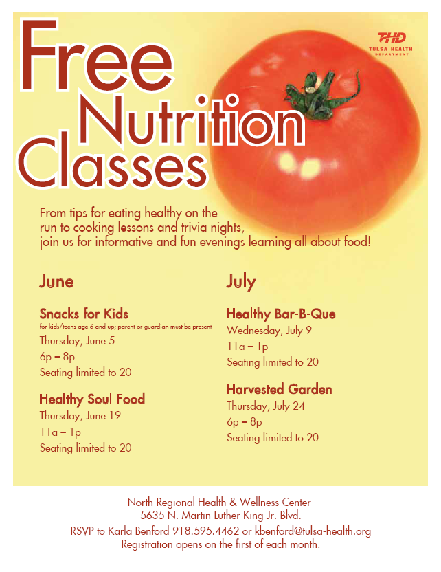Free Nutrition Classes in June and July at NRHWC | Tulsa